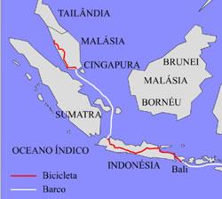 Mapa: rota na Indonésia e Malásia
