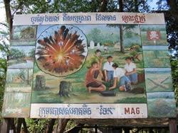 placa avisando sobre minas - Camboja